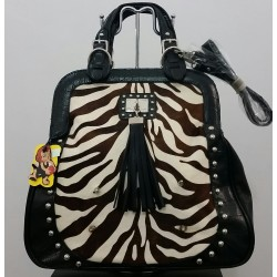 чанта с естетвена кожа от пони и изкуствена кожа