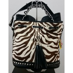 Чанта с естествена кожа от пони и изкуствена кожа