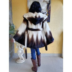 палто норка– визон с качулка  кожух естествена кожа